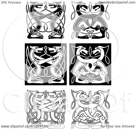 clipart   black  white celtic wild dog knots