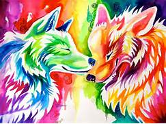 Wolves  Rainbows and deviantART on Pinterest  Colorful Wolf Painting