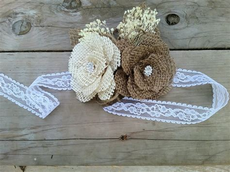 burlap shabby chic rustic shabby chic burlap rose corsage with baby s