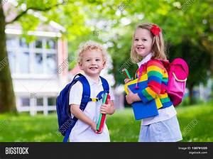 Child Going School. Boy Girl Image & Photo   Bigstock