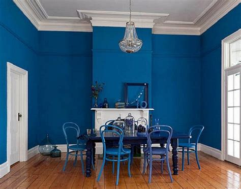 Bold Blue Interior Paint Color For Dining Room, Cheap