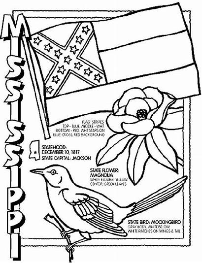 Coloring Pages State States United Mississippi Sheets