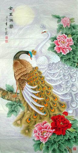 chinese peacock peahen painting peafowl treasures fill