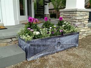 Rectangular, Grey, Stone, Outdoor, Planter, Boxes, With, Plants, For