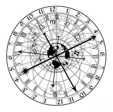 astronomical clock digital art by michal boubin