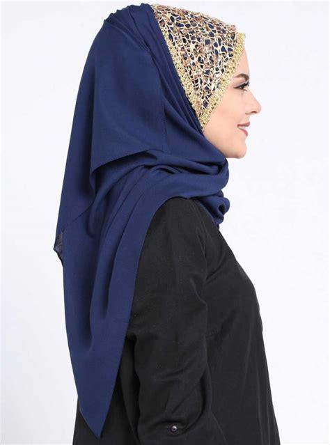 esmeray navy blue chiffon hijab  guelsoy  ayisahcom