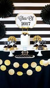 "Kara's Party Ideas ""Be Bold"" Black & Gold Graduation Party ..."