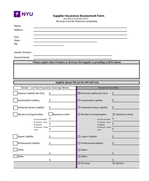 sample insurance assessment forms   excel