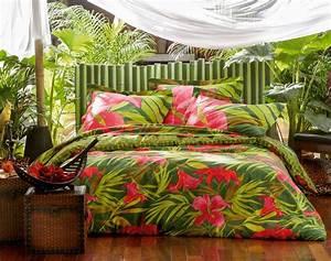 Housse De Couette Exotique : linge de lit fleurs d 39 hibiscus housses de couette tropicales pinterest hibiscus linge de ~ Teatrodelosmanantiales.com Idées de Décoration
