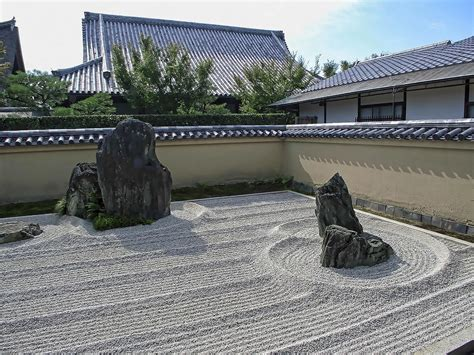 ryogen in raked gravel garden kyoto japan photograph by