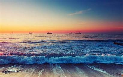 Ocean Sunset Beach Waves Scenic Wallpapers Horizon