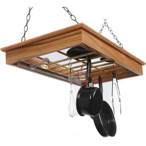 hanging pot and pan holder halogen lighted in hanging pot racks