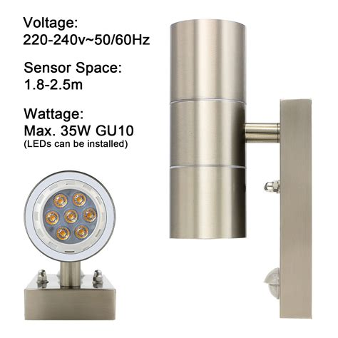 stainless steel up down outdoor wall light pir security