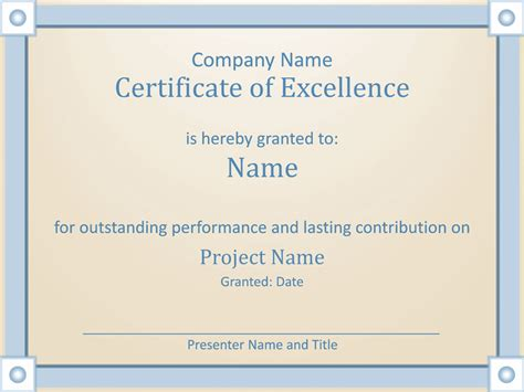 certificate  employee excellence template  powerpoint