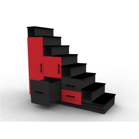 meuble escalier rouge et noir avec portes et tiroirs