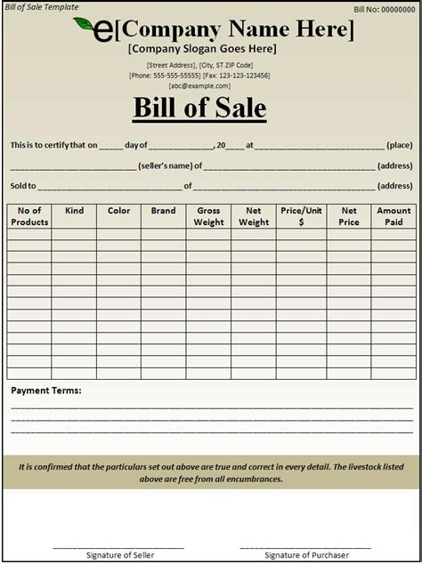 Bill Of Sale Template Free Formats Excel Word