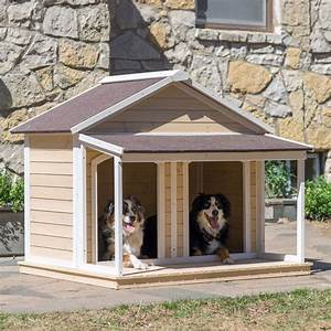 Double dog house outdoor pet bed kennel doghouse duplex for Outside covered dog kennels