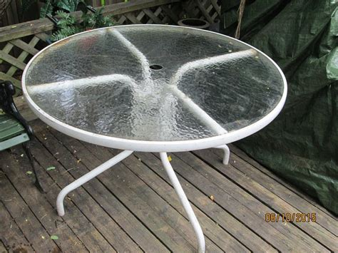 used round glass table top patio table with glass top white round 42 inches kanata