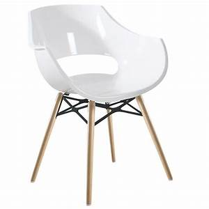 Chaise Blanche Bois : chaise blanche opal wox pieds bois naturel achat vente chaise polycarbonate cdiscount ~ Teatrodelosmanantiales.com Idées de Décoration