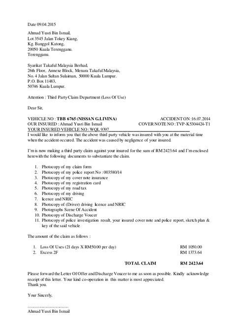 surat tuntutan claim kenderaan insurans
