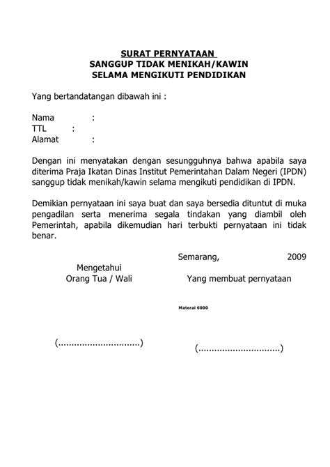 Contoh Surat Pernyataan Bersedia Ditempatkan Dimana Saja by Pernyataan Sanggup Tdk Kawin