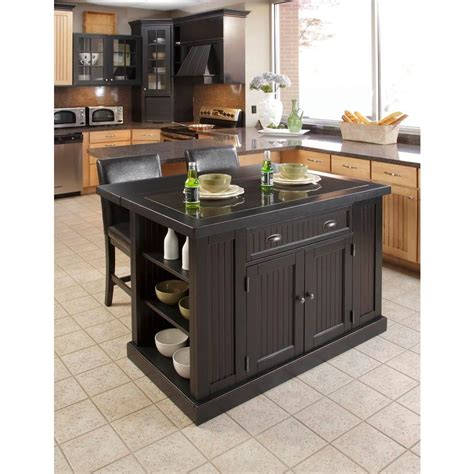 home styles nantucket black kitchen island with seating