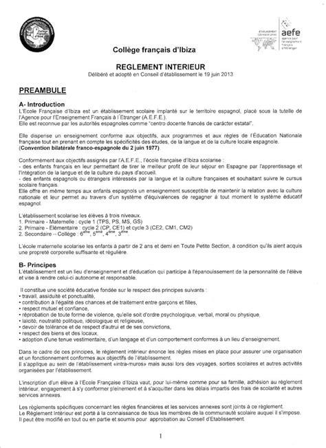 bureau d ecole règlement intérieur collège français d 39 ibiza