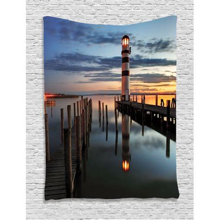 lighthouse decor wall hanging tapestry calm dusk at bay with lighthouse and wooden boardwalk