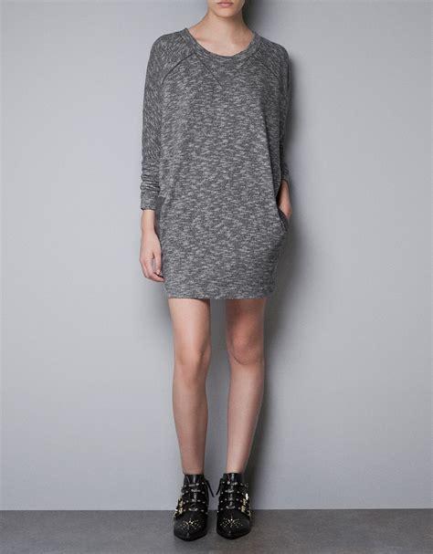Zara Tshirt Dress in Gray | Lyst