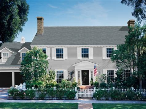 this is the one colonial home gray siding white shutters black door exterior colors