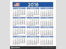 2018 平方日历英语美国 — 图库矢量图片#137524378