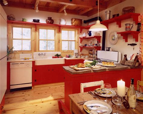 Red And White Country Kitchen  Country Home Design Ideas
