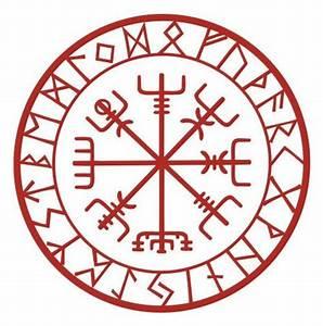 Compas De Vegvisir : viking protection runes vegvisir compass talisman red vinyl ~ Melissatoandfro.com Idées de Décoration