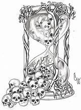 Hourglass Tattoo Broken Sketch Saati Kum Drawing Skull Template Tatuajes Doevmeleri Mexicanas Calaveras Deviantart Coloring Glass Kafatası Tattoos Heart Doevmeler sketch template