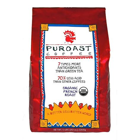 70% less acid, to be exact. Puroast Coffee French Roast Low Acid Organic, Whole Bean, 5 Pound - Walmart.com - Walmart.com