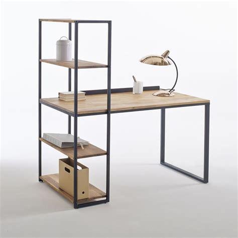 bureau d angle informatique bureau bibliothèque métal et chêne massif hiba noir bois
