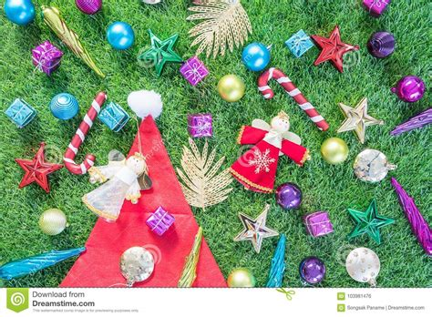 top view christmas decoration  green grass stock photo