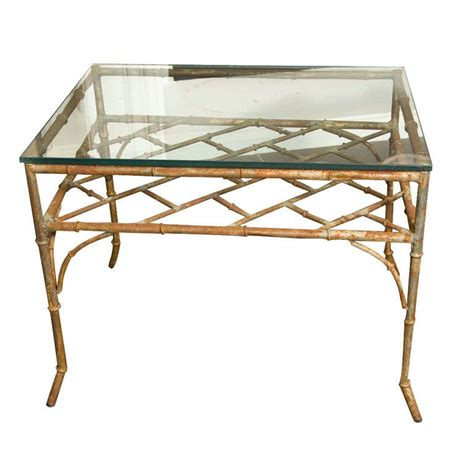 vintage bamboo side table vintage distressed faux bamboo metal side table at 1stdibs