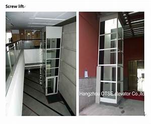 Manual Elevator Screw Drive Lift For Sale With Glass Shaft