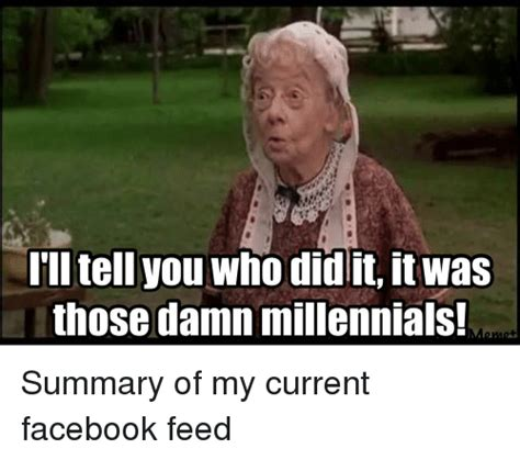 Millenial Memes - i ll tell you who did it itwas those damn millennials