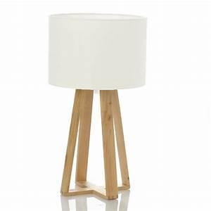 Lampe A Poser Scandinave : lampe poser blanc avec pied en bois les douces nuits de ma linge de maison ~ Melissatoandfro.com Idées de Décoration
