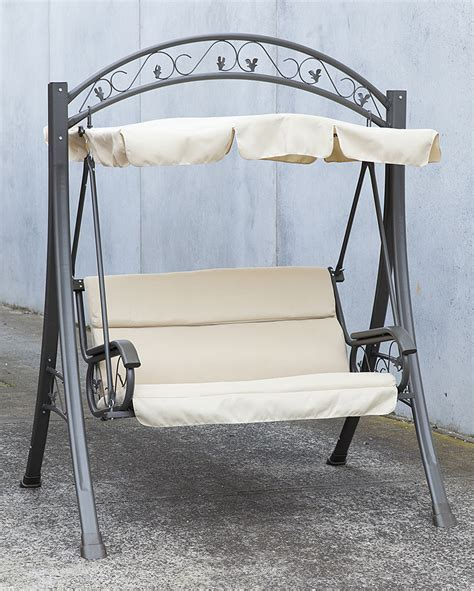 metal swing frame outdoor furniture outdoor swing chair canopy hanging chair garden bench seat steel frame cushion ebay