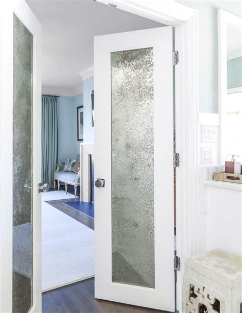 Bathroom Glass Door Cover by Mercury Glass Mirrored Doors In Master Bathroom