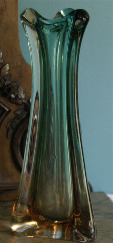 Antique Coloured Glass Vases by Vintage Blue And Colored Glass Vase