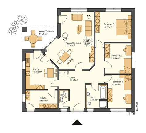 Grundriss Haus 150 Qm ruheraum grundriss bungalow 150 qm schl 252 sselfertig bauen