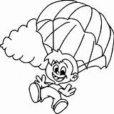 Parachute Drawing Coloring Getdrawings sketch template