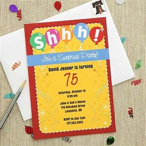 Colorful Surprise Party Invitations   75th Birthday Ideas