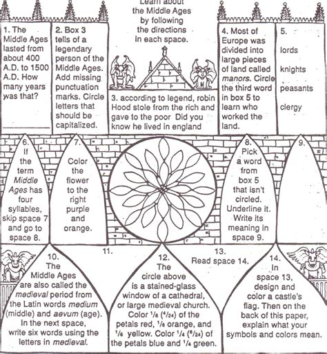 middle ages for worksheets the middle ages world