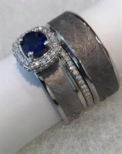 Meteorite Wedding Ring Set