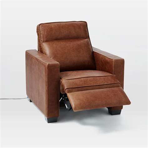 henry 174 leather power recliner chair tobacco west elm
